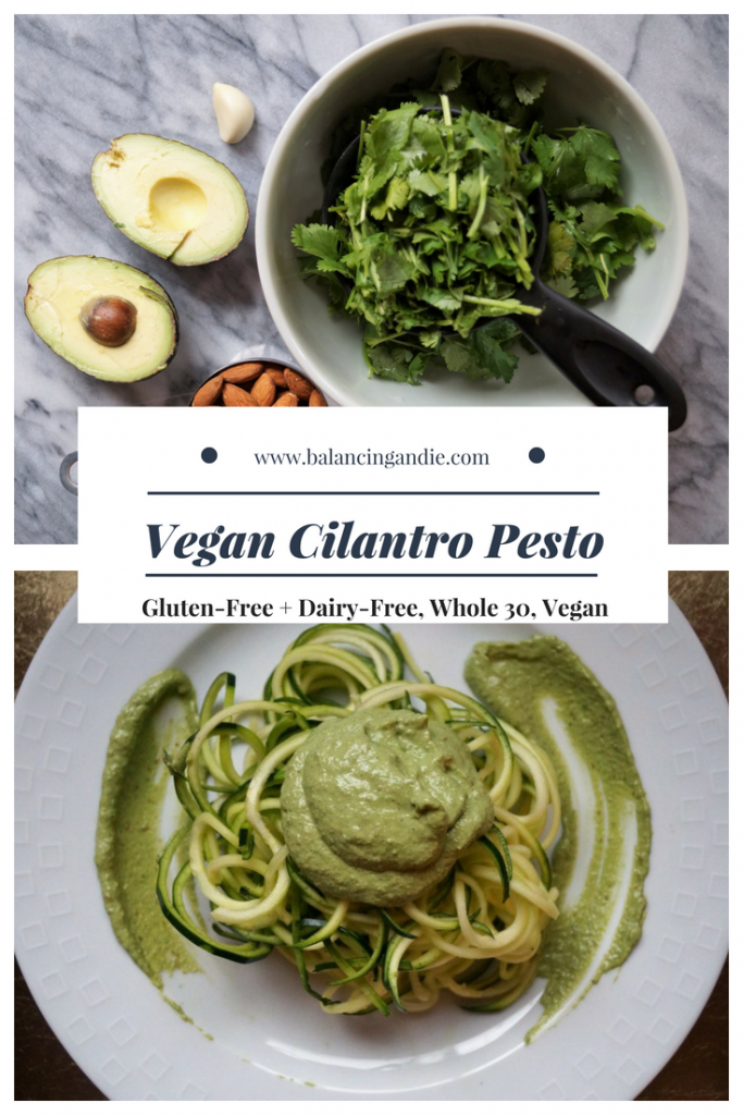 Vegan Cilantro Pesto (Gluten-free, Whole 30 approved, Keto, Dairy-free, clean eating)