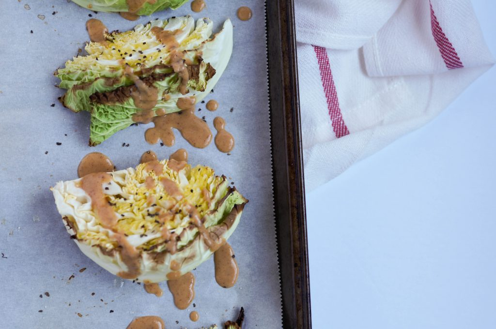 Roasted Cabbage Wedges with Almond Butter Sauce - Vegan and delicious!