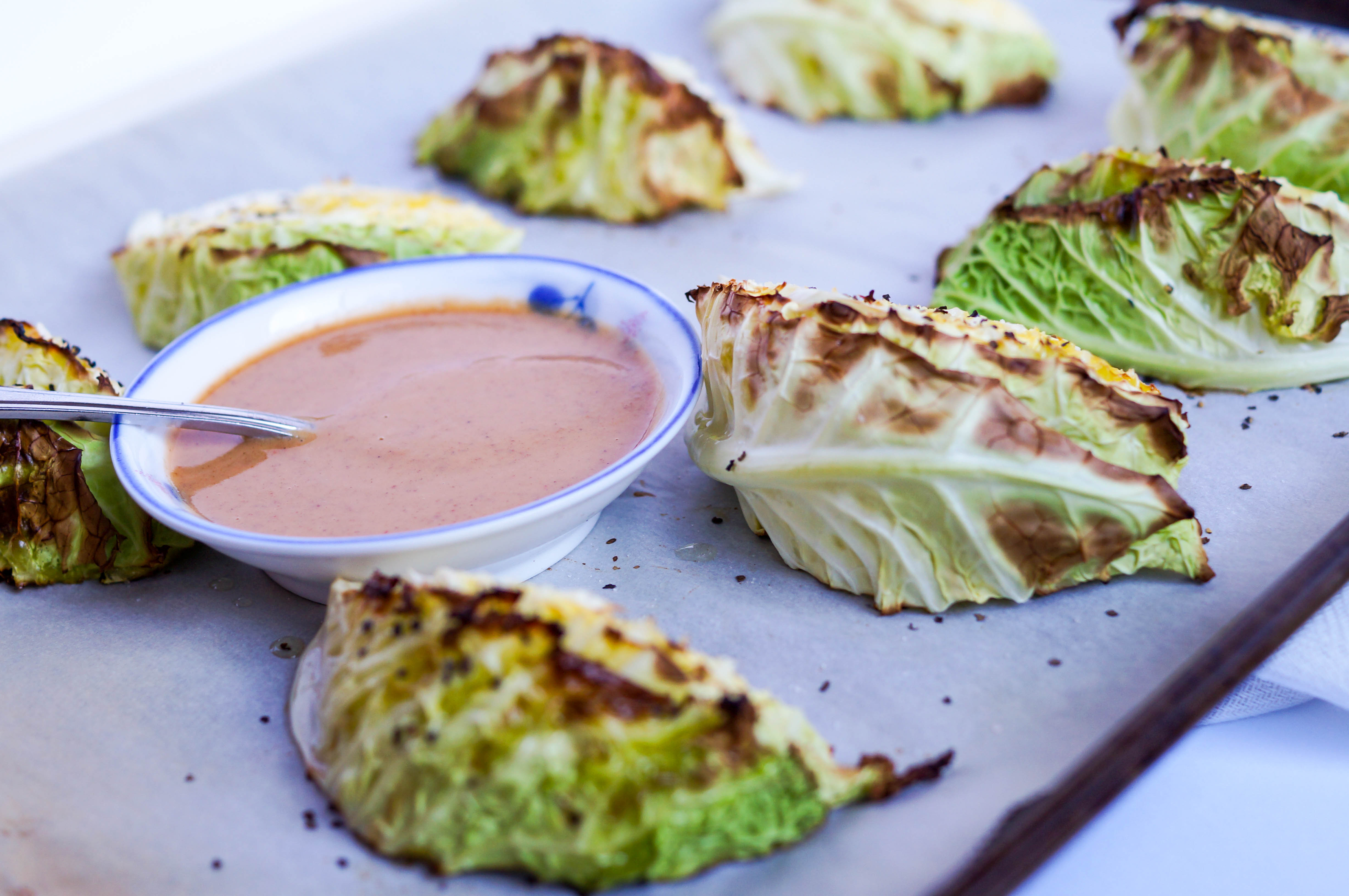 Roasted Cabbage Wedges with Almond Butter Sauce