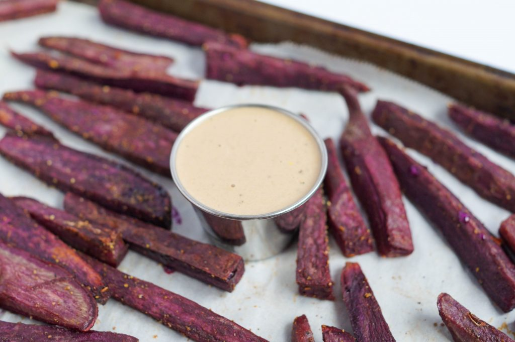 PURPLE YAM WEDGES WITH GARLIC AIOLI