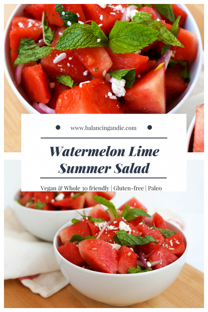 Watermelon Lime Summer Salad (GF, Paleo, Vegan-friendly, Whole 30 friendly)