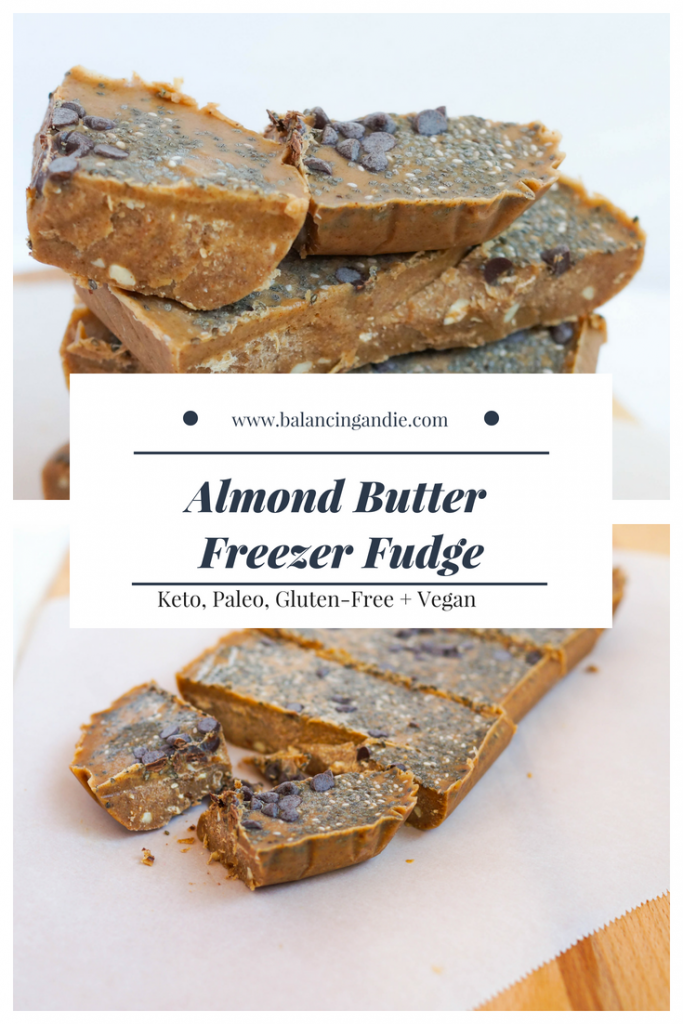 Almond Butter Freezer Fudge (Vegan, Keto, Gluten-free, Low Sugar, No Sugar, Whole 30)