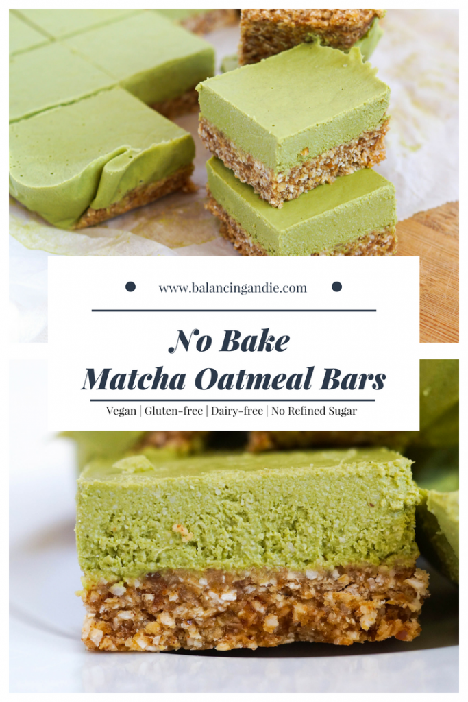 No Bake Matcha Oatmeal Bars The perfect breakfast or dessert (Vegan, Dairy-free, Gluten-free & no refined sugar!)