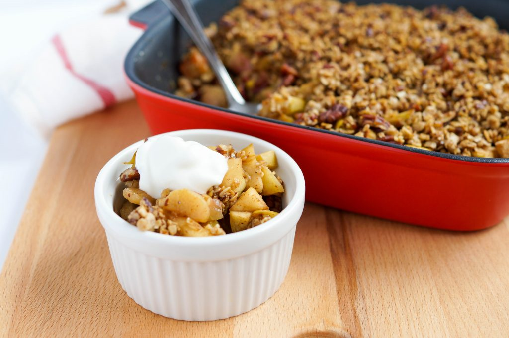 Apple Rhubarb Breakfast Crumble (Vegan, Gluten-free, Dairy-free, Refined Sugar-free, Low Sugar)