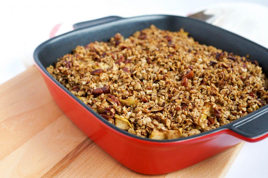 Apple Rhubarb Breakfast Crumble (Vegan, Gluten-free, Dairy-free, Refined Sugar-free, Low Sugar)