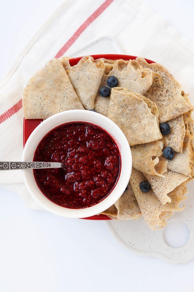 Vegan Whole Wheat Crepes with Raspberry Sauce (Vegan, Refined Sugar-free, Dairy-free, Healthy Breakfast recipe!)
