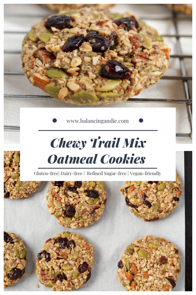 Chewy Trail Mix Oatmeal Cookies (Dairy-free & Gluten-free)