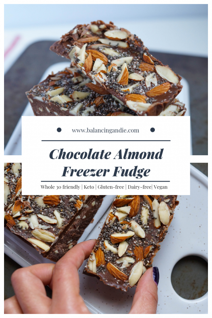 Chocolate Almond Freezer Fudge - The best snack after dinner that can stay ready to go in the freezer! (Keto, Vegan, Sugar-free, Refined-sugar free, Gluten-free, Paleo)