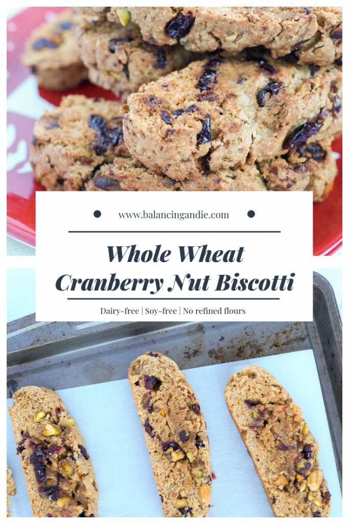 Healthy Dairy Free Cranberry Nut Biscotti (refined sugar free - lightly sweetened with coconut sugar & made with whole wheat flour)