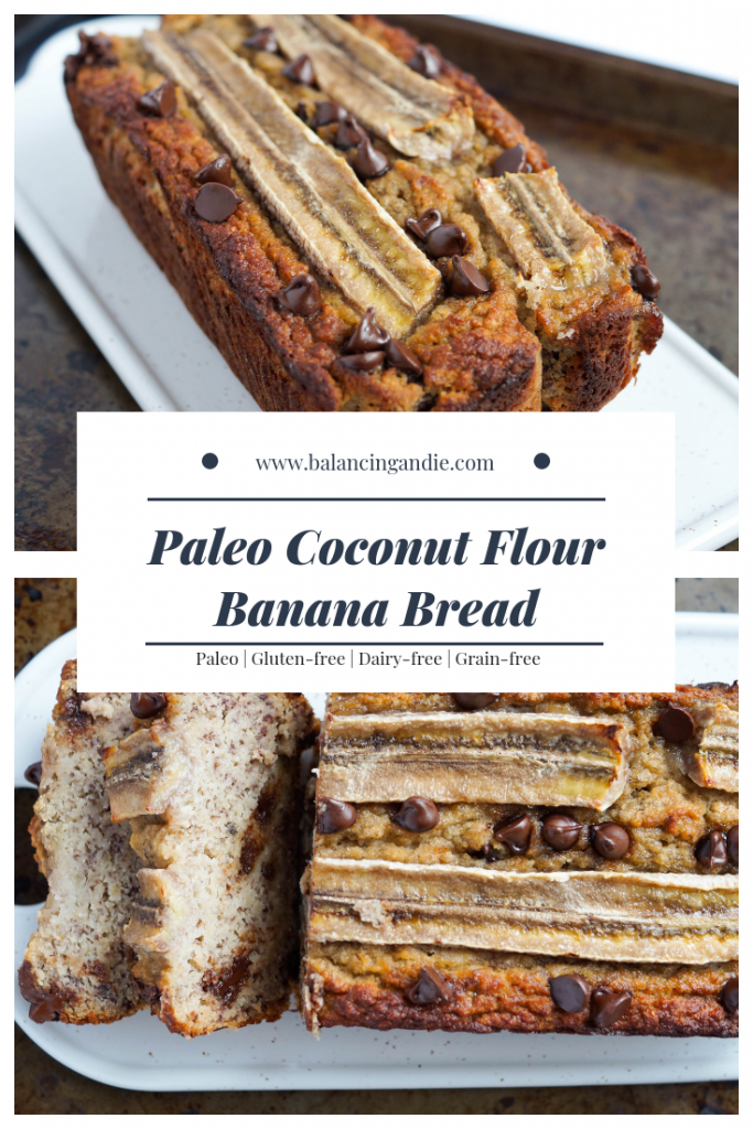Paleo Coconut Flour Banana Bread (Paleo, Dairy-free, Gluten-free, Grain-free, Refined Sugar-free)