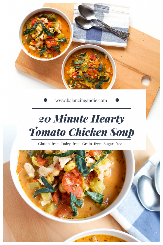 20 Minute Tomato Chicken Soup made with chickpeas, nourishing vegetables, chicken and spices like basil and oregano. The perfect cozy soup for cold winter days and the best part? Only 20 minutes to make!