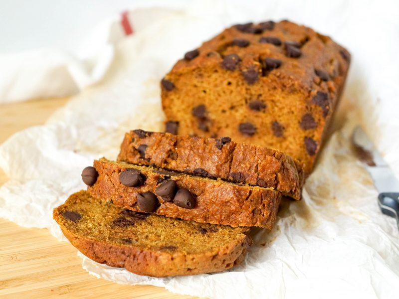 Easiest Chocolate Chip Pumpkin Bread (DF)