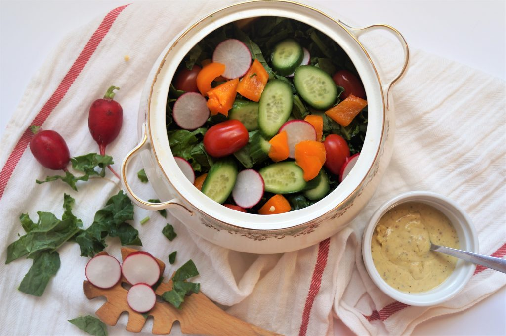 Summer Salad with Creamy Vegan Dressing