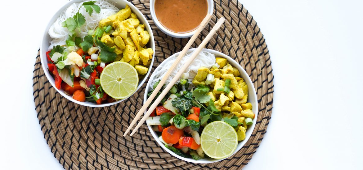 Asian Chicken Noodle Bowls with Almond Sauce - A healthy chicken noodle bowl using vermicelli noodles, sauteed vegetables and a zesty almond butter sauce. Gluten-free, Dairy-free, Peanut free & no added sugar.